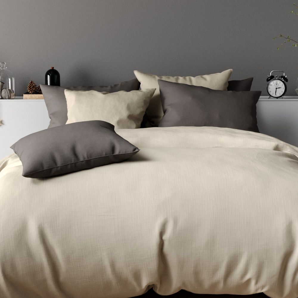 housse de couette 100 percale de coton sable 240x260 pas cher. Black Bedroom Furniture Sets. Home Design Ideas