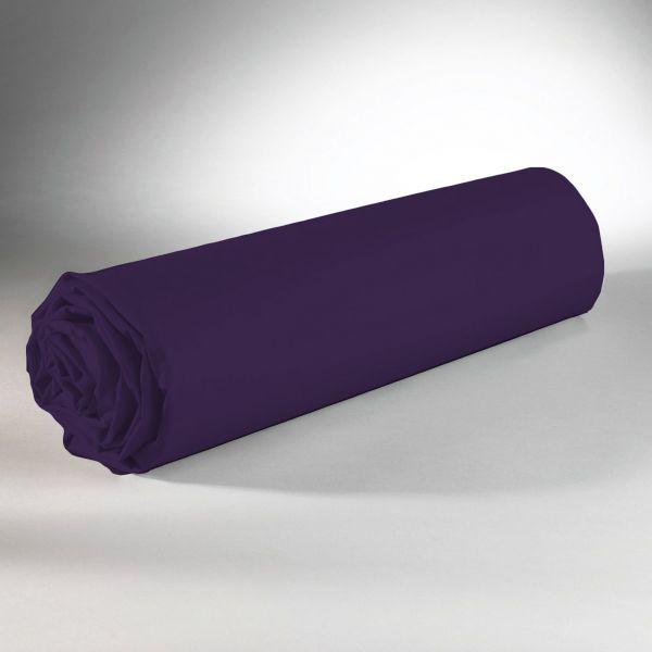 Drap housse 100% Coton 57 fils Violet 90x190