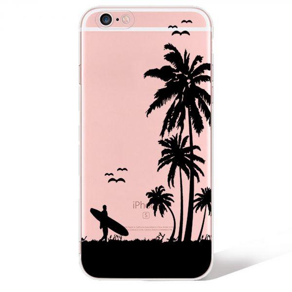Coque transparente à motif surf pour iPhone 8/7
