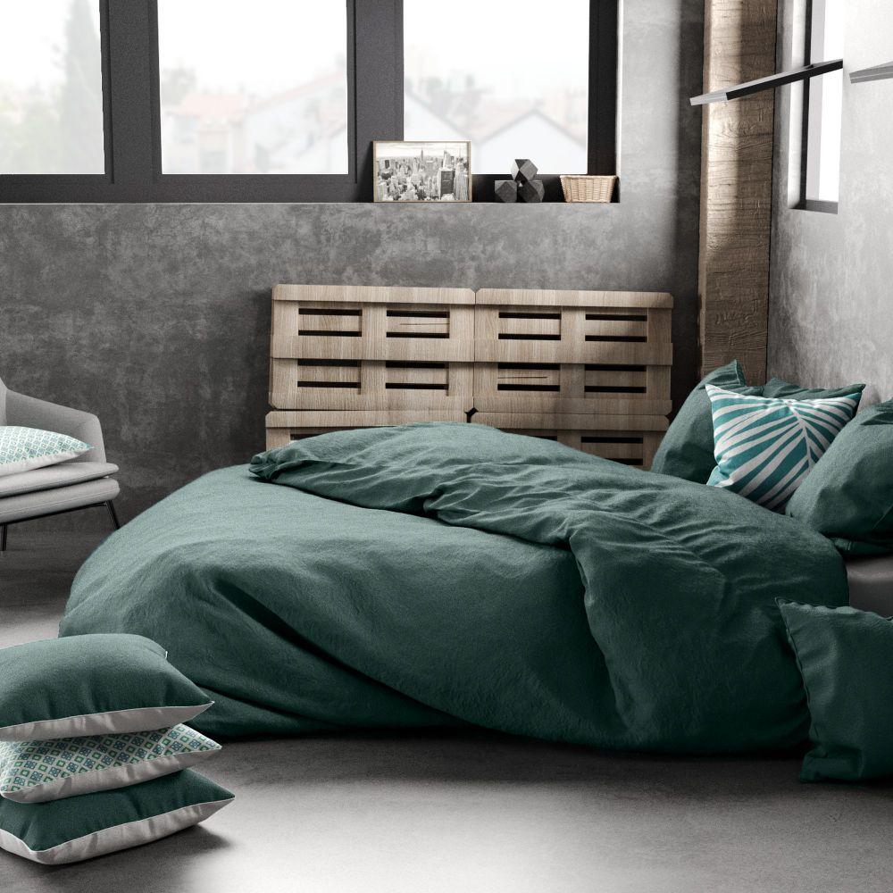 housse de couette 100 lin bleu paon pas cher. Black Bedroom Furniture Sets. Home Design Ideas