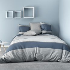 Housse de couette Polyester Ignhor Bleu et taie d'oreiller