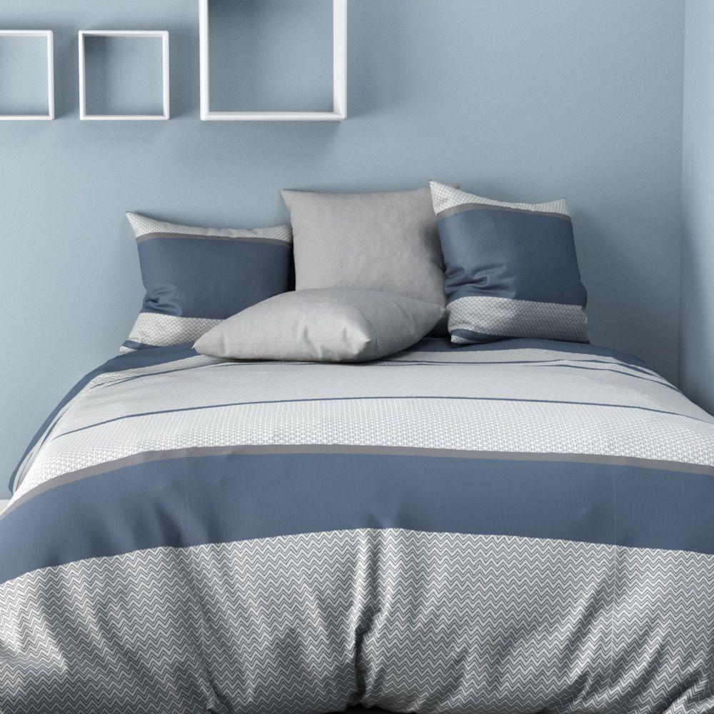 parure de couette 100 microfibre ignhor bleu pas cher. Black Bedroom Furniture Sets. Home Design Ideas
