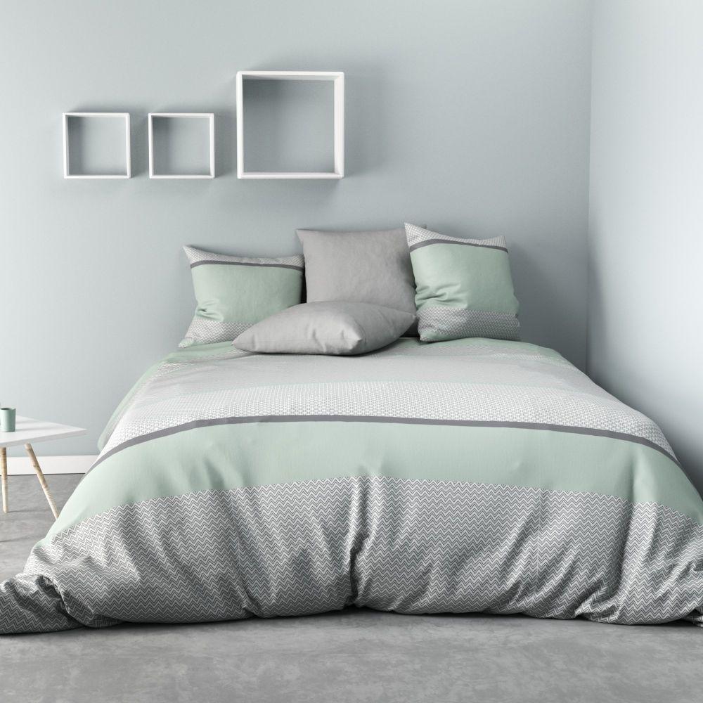 parure de couette 100 microfibre ignhor glacier pas cher. Black Bedroom Furniture Sets. Home Design Ideas