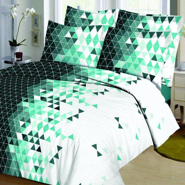 Housse de couette Coton Mosa Vert et taie d'oreiller