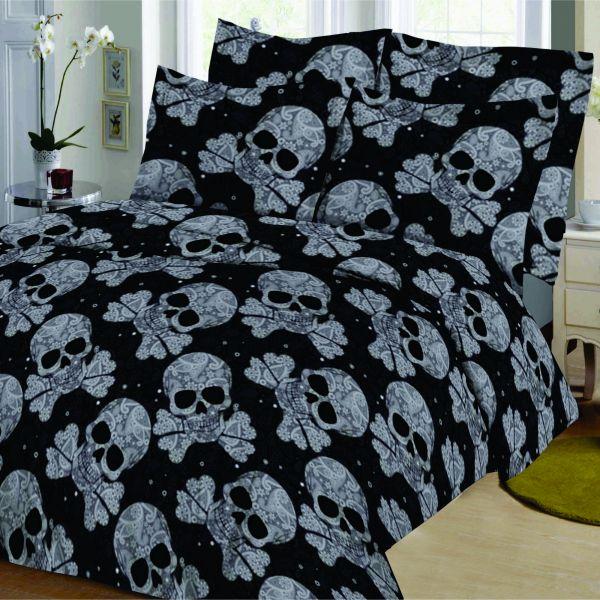 Housse de couette Coton Pirate Noir et taie d'oreiller