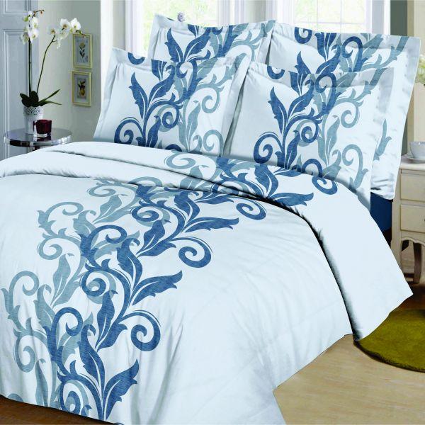 Housse de couette Coton Acante Bleu et taie d'oreiller