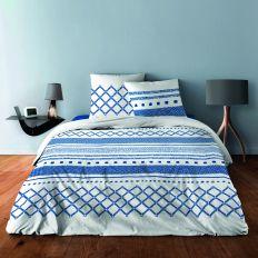 Parure de couette 220x240 cm 100% Coton 57 fils Geometrique Bleu