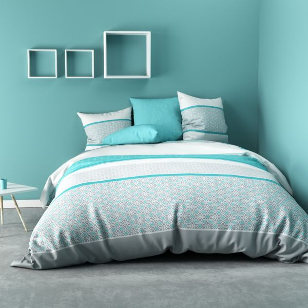 Parure de drap 240x300 cm 100% Coton 57 fils Bonus Turquoise