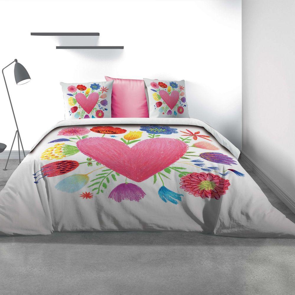Parure de lit - Housse de couette 100% Coton 47 fils Fleurs D'amour : Taille - 240 x 260 cm. Housse de couette - Parure de couette Coton Fleurs D'amou