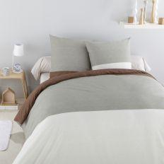Parure de lit - Housse de couette 100% Coton 49 fils Elya Chocolat