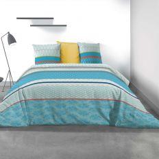 Parure de lit - Housse de couette 100% Coton 57 fils Eva Blue