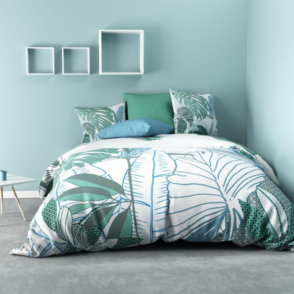 Parure de lit - Housse de couette 100% Coton 47 fils Fertaly Blue : Taille - 240 x 260 cm. Housse de couette - Parure de couette Coton Fertaly Blue co