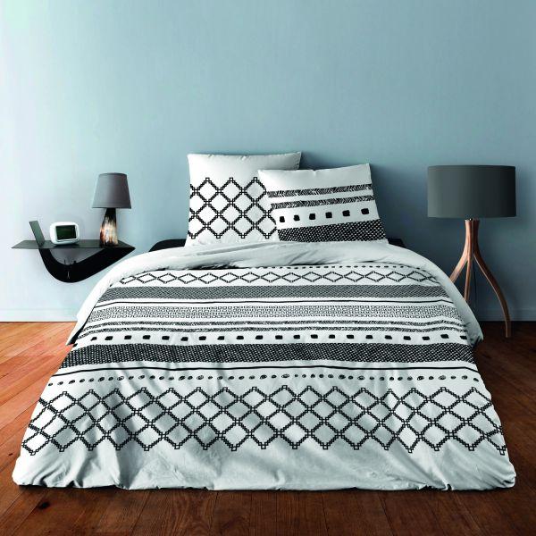 Parure de lit - Housse de couette 100% Coton 57 fils Geometrique Noir
