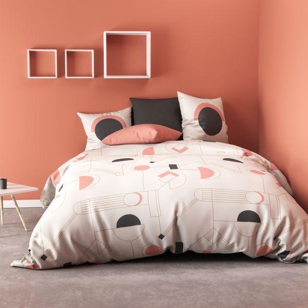 Parure de lit - Housse de couette 100% Coton 57 fils Hawa Pink