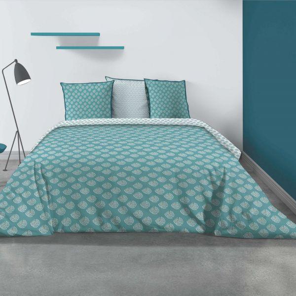 Parure de lit - Housse de couette 100% Coton 57 fils Kady Blue