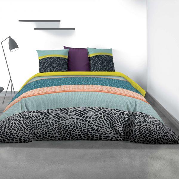 Parure de lit - Housse de couette 100% Coton 57 fils Metny Multicolor