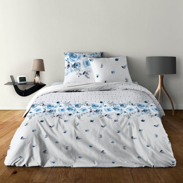 Parure de lit - Housse de couette 100% Coton 57 fils Rose Bleu