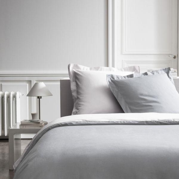 Parure de lit - Housse de couette 100% Percale de Coton Chantilly/Zinc