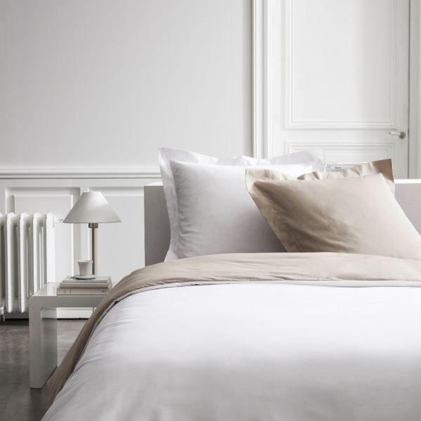 Parure de lit - Housse de couette 100% Percale de Coton Mastic/Chantilly