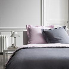 Parure de lit - Housse de couette 100% Percale de Coton Poudre De Lilas/Canon De Fusil