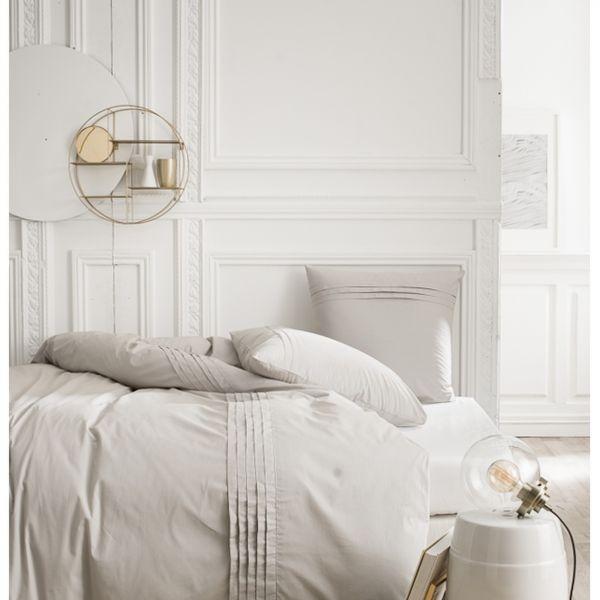Parure de lit - Housse de couette 100% Percale de Coton Zinc