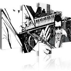 Tableau Concert de jazz sur fond de gratte-ciels de New York - 5 pièces