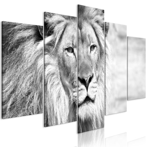 Tableau The King of Beasts 5 Pièces Wide Black and White