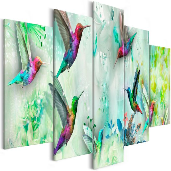 Tableau Colourful Hummingbirds 5 Pièces Wide Green