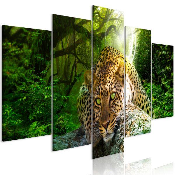 Tableau Leopard Lying 5 Pièces Wide Green