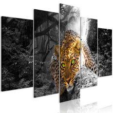 Tableau Leopard Lying 5 Pièces Wide Grey