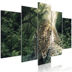 Tableau Leopard Lying 5 Pièces Wide Pale Green