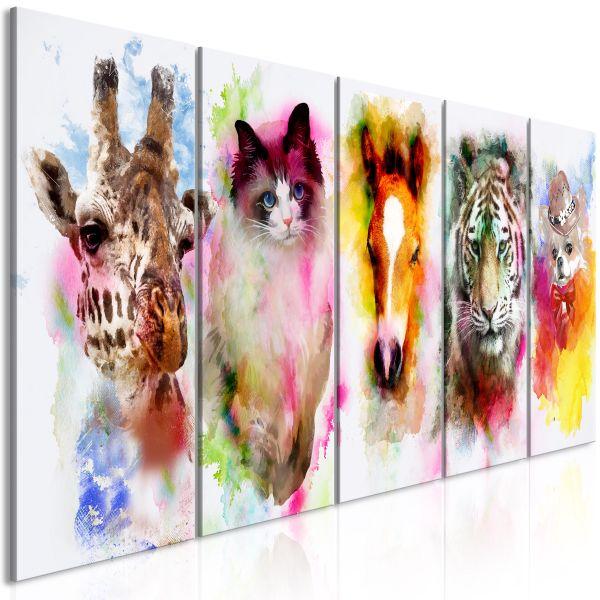 Tableau Watercolour Animals 5 Pièces Narrow