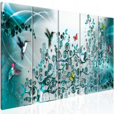 Tableau Hummingbirds Dance 5 Pièces Turquoise Narrow