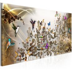 Tableau Hummingbirds Dance 1 Pièce Gold Narrow