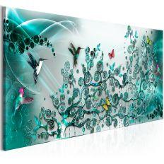 Tableau Hummingbirds Dance 1 Pièce Turquoise Narrow