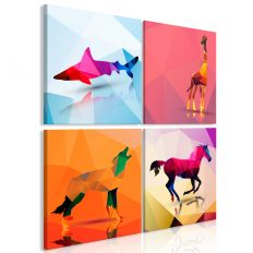 Tableau Geometric Animals 4 Pièces