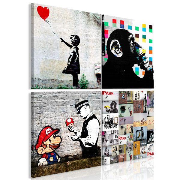 Tableau Banksy Collage 4 Pièces