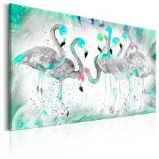 Tableau Turquoise Flamingoes