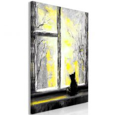 Tableau Longing Kitty 1 Pièce Vertical Yellow