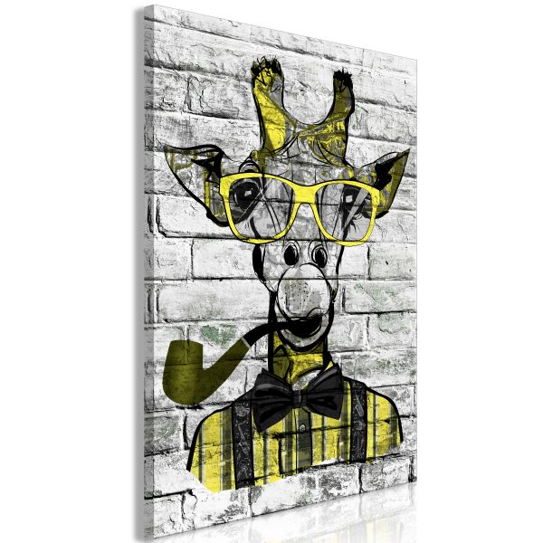 Tableau Giraffe with Pipe 1 Pièce Vertical Yellow