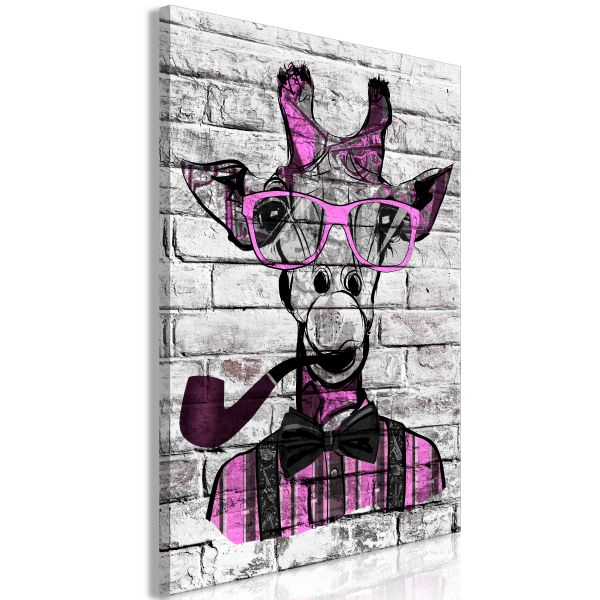 Tableau Giraffe with Pipe 1 Pièce Vertical Pink