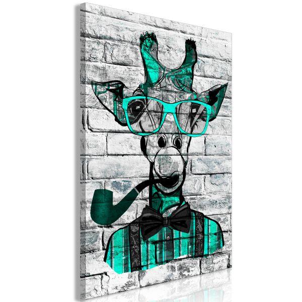 Tableau Giraffe with Pipe 1 Pièce Vertical Green