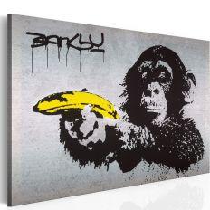 Tableau Arrête ou le singe va tirer! Banksy