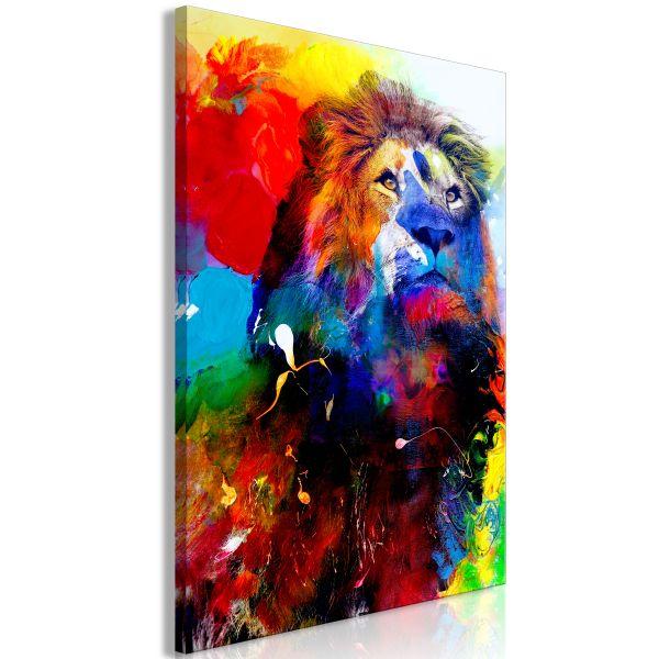 Tableau Lion and Watercolours 1 Pièce Vertical