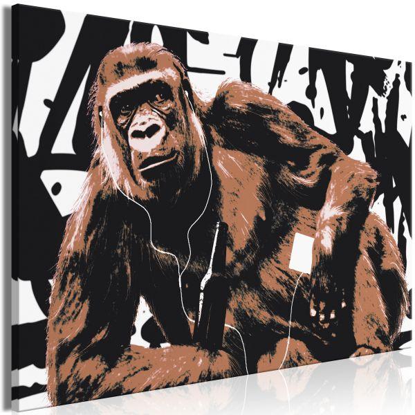 Tableau Pop Art Monkey 1 Pièce Narrow Brown
