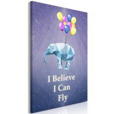 Tableau Flying Elephant 1 Pièce Vertical