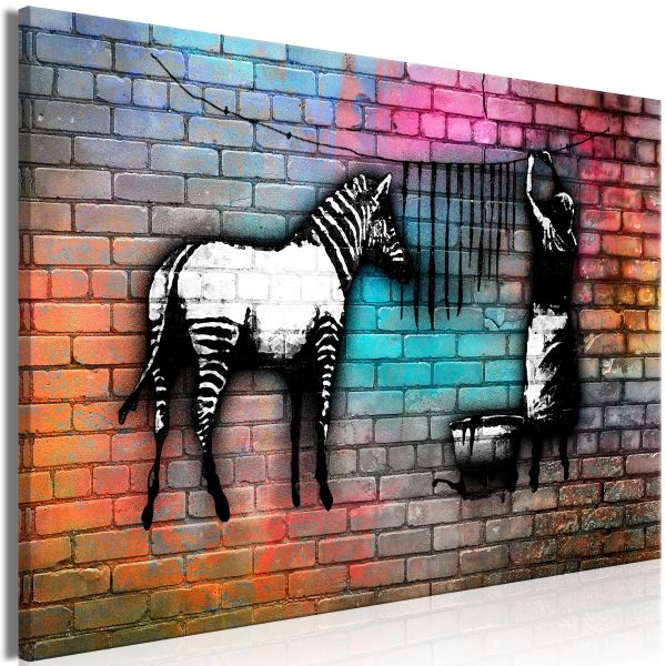 Tableau Washing Zebra - Colourful Brick 1 Pièce Wide