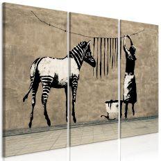Tableau Banksy Washing Zebra on Concrete 3 Pièces