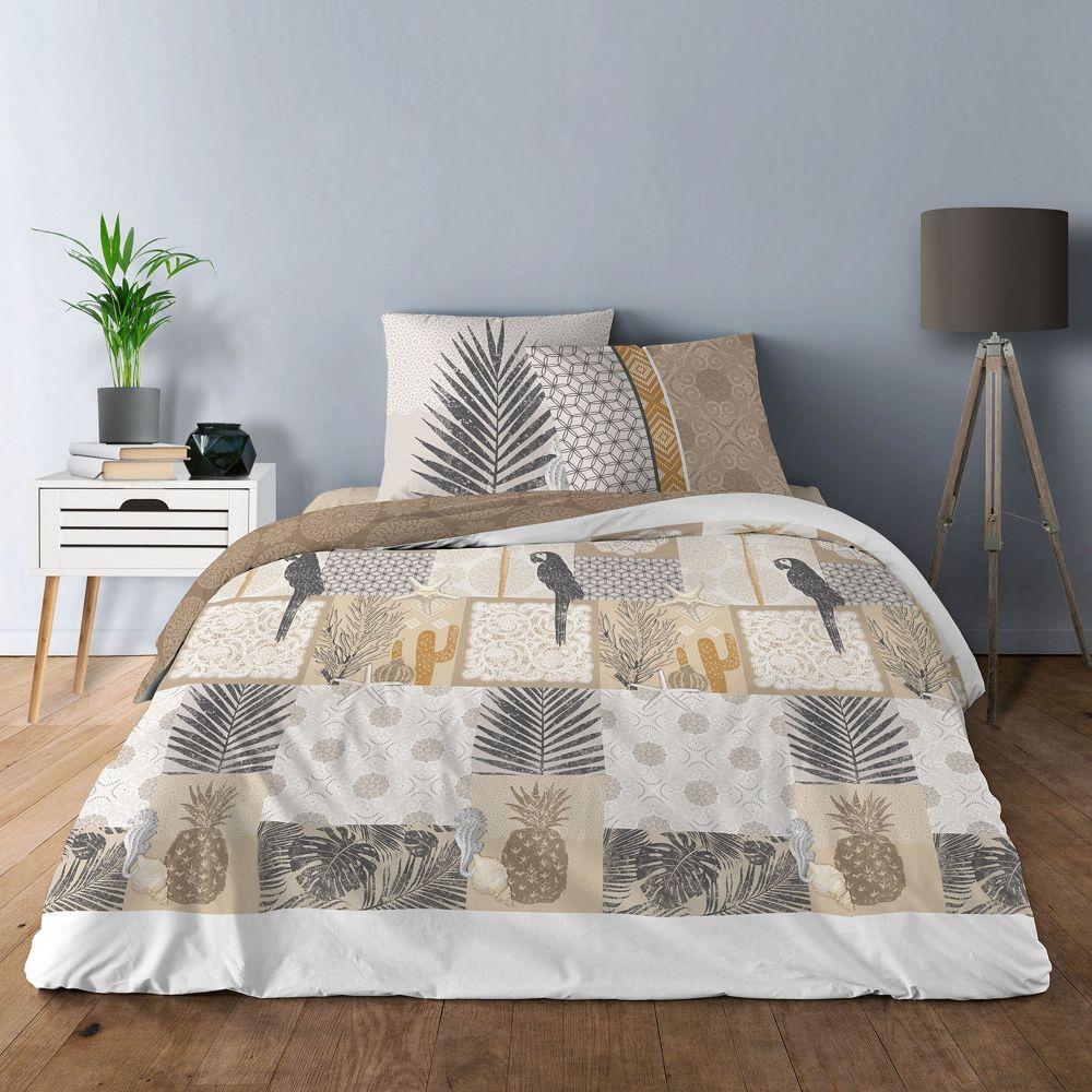 Parure de lit - Housse de couette 100% Coton 57 fils Cactus : Taille - 220 x 240 cm. Housse de couette - Parure de couette Coton Cactus comprenant : h