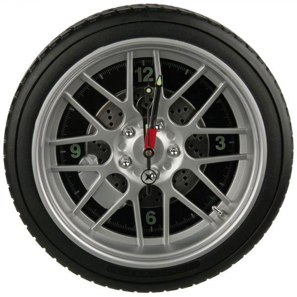 Horloge murale roue de voiture LED avec pneu
